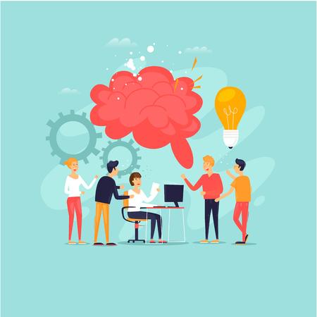 Trabajo en equipo, lluvia de ideas, un grupo de personas trabajando juntas, desarrollando ideas. Ilustración de vector de diseño plano.