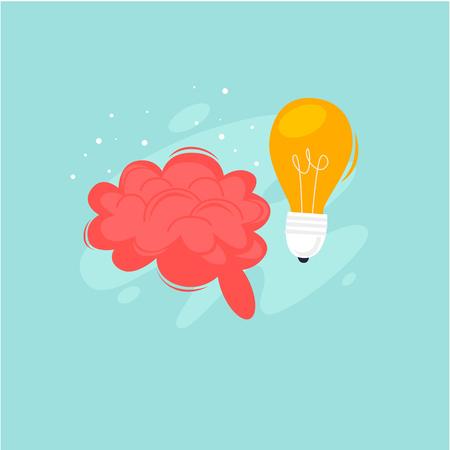 Brainstorm, idea, brain and light bulb. Flat design vector illustration. Illustration