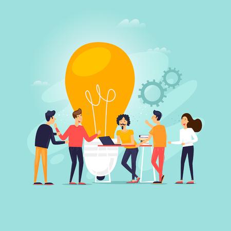 Teamwork, brainstorming, a group of people working together, developing ideas. Flat design vector illustration. Иллюстрация