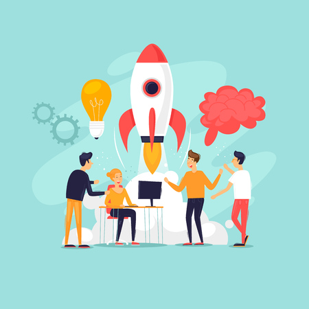 Startup, teamwork, brainstorming, a group of people working together. Flat design vector illustration.