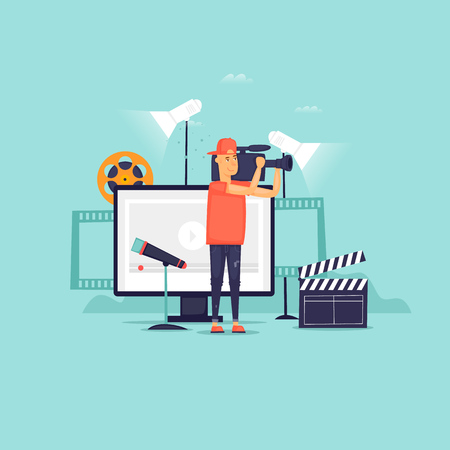 Videography, a man with a camera shoots, a blog, a studio. Flat design vector illustration.