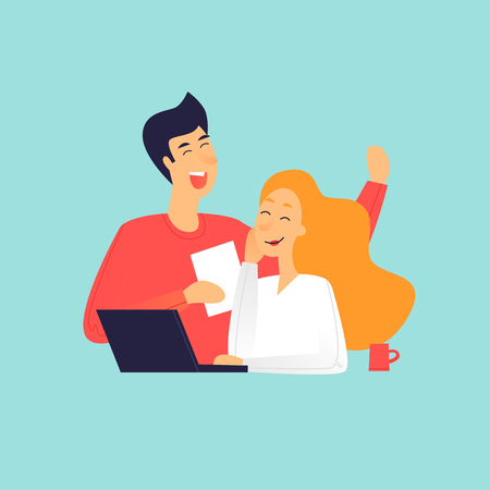 Man and woman talking near laptop, office life. Flat design vector illustration.