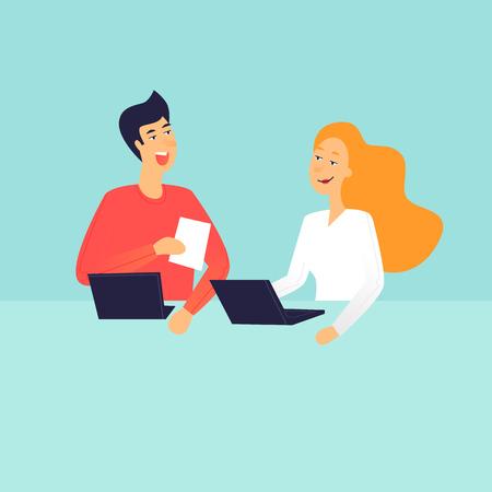 Man and woman talking, office life. Flat design vector illustration.