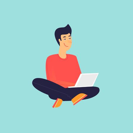 Man sitting working on laptop. Flat design vector illustration. Illustration