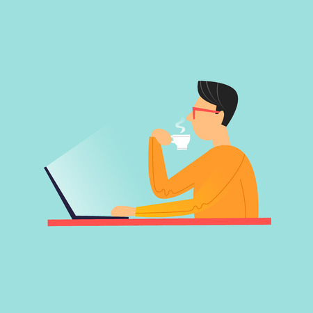 Man sitting drinking coffee and working on laptop. Flat design vector illustration.