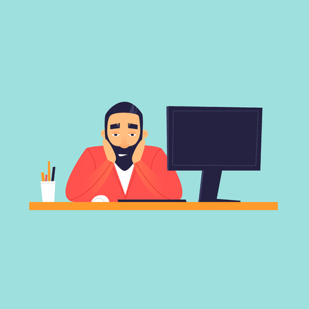 Sad man sitting near computer, office life. Flat design vector illustration.