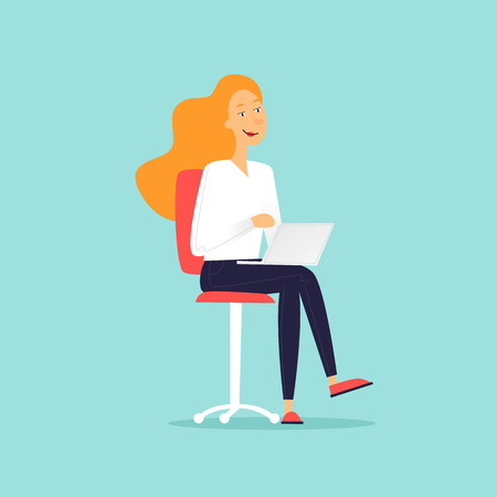 Woman sitting on chair with laptop. Flat design vector illustration.