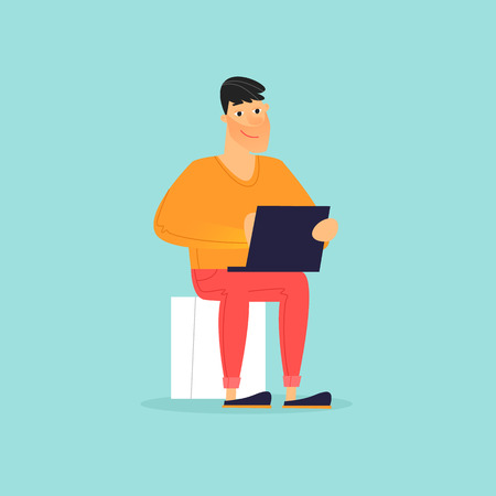 Man is sitting with a laptop, office life, business. Flat design vector illustration.