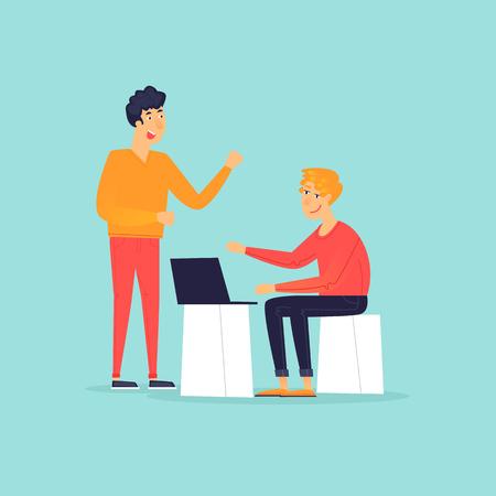 Teamwork, brainstorming ideas, office life. Flat design vector illustration. Ilustración de vector
