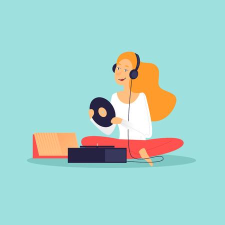 Woman sitting listening to music on headphones, vinyl records. Flat design vector illustration.