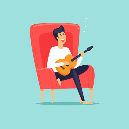 Man sits in a chair playing guitar hobby holiday. Flat design vector illustration.