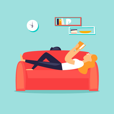 Woman lying on the couch reading a book. Flat design vector illustration.