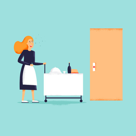 Woman delivers food in the hotel room. Flat design vector illustration. Texture Illustration