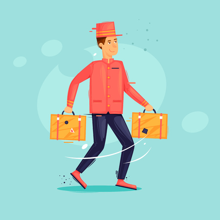 Bellboy carries suitcases. Work at the hotel. Flat design vector illustration. Stock Illustratie