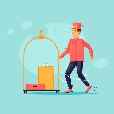 Bellboy carries suitcases. Work at the hotel. Flat design vector illustration.  イラスト・ベクター素材
