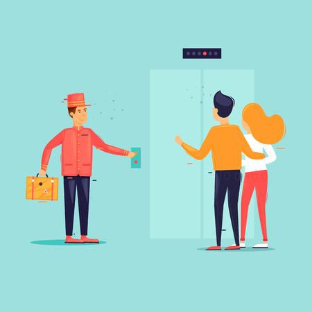 Bellboy causes elevator. Flat design vector illustration