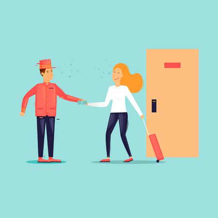 Bellboy receive a tip from a girl. Flat design vector illustration