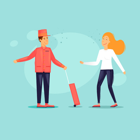 Bellboy pulls a suitcase helps a girl. Flat design vector illustration