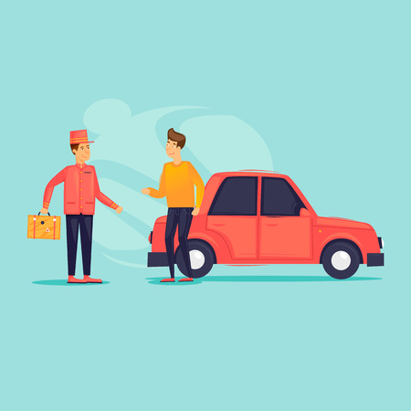 Parking attendant. Bellboy carries a suitcase to the car. Flat design vector illustration Illustration