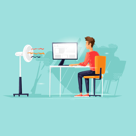 Man works at the computer, heat, fan blows the wind, programmer. Flat design vector illustration 向量圖像