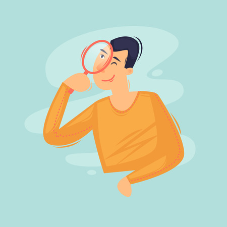 Search page. Error. 404. Man with magnifying glass. Flat design vector illustration
