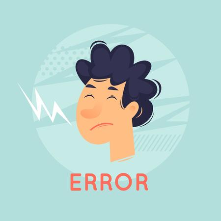 Error. 404. Sad face of a man. Flat design vector illustration