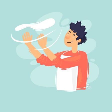 Man making pizza. Flat design vector illustration Çizim