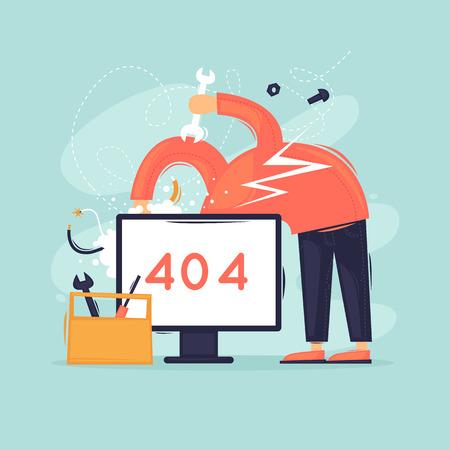Página de búsqueda. Error. 404. Hombre reparando computadora. Ilustración de vector de diseño plano