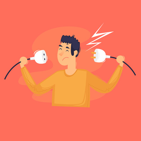 ERROR 404. Man turned off the power. Flat design vector illustration Illustration
