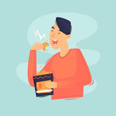 Man eating chips. Junk food. Flat design vector illustration Illustration