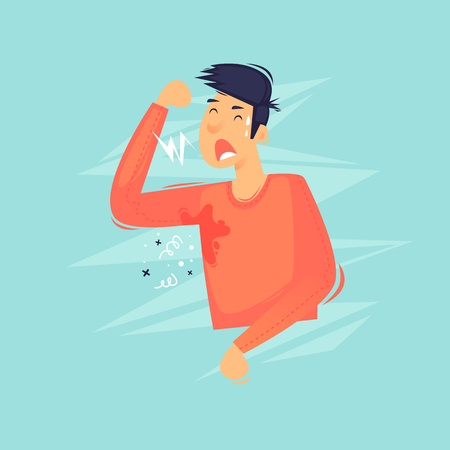 Man sweated, unpleasant smell, heat. Flat design vector illustration