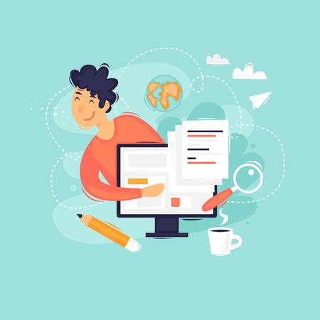 Blogger. Flat design vector illustration