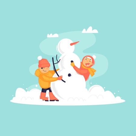 Children make a snowman, winter. Flat design vector illustration. Ilustracja