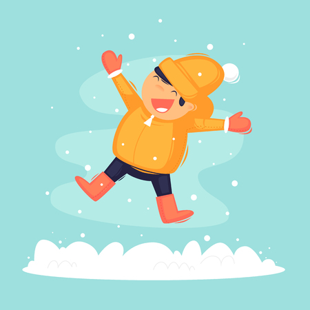 Child rejoices in the snow. Flat design vector illustration. 일러스트
