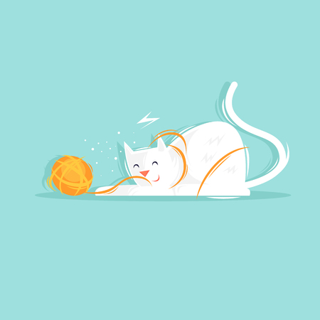 Cat plays with a ball of yarn. Flat design vector illustration. Illustration