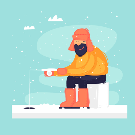 Man on winter fishing. Flat design vector illustration. Ilustração