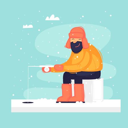 Man on winter fishing. Flat design vector illustration. Illustration