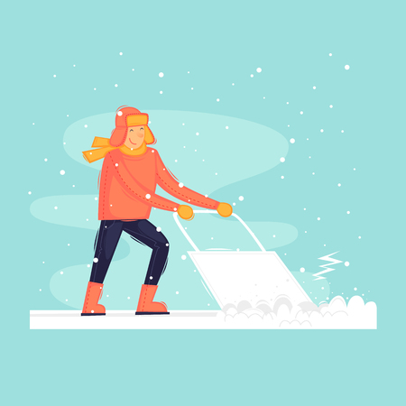Man cleans snow, winter, frost. Flat design vector illustration.