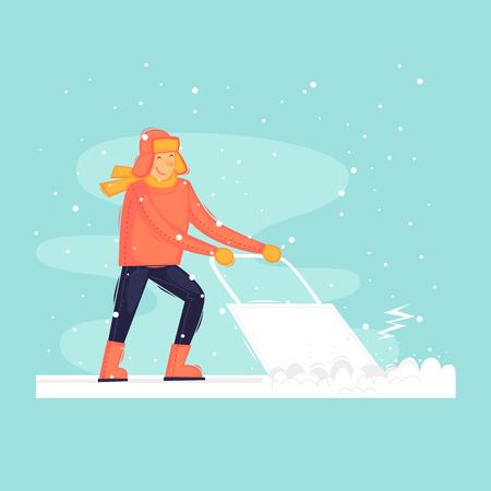 Man cleans snow, winter, frost. Flat design vector illustration.