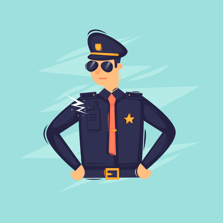 Policeman. Flat design vector illustration. Illustration