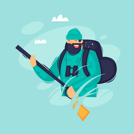 Hunter with a backpack holds a gun. Flat design vector illustration.