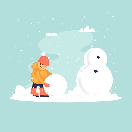Child sculpts a snowman, winter. Flat vector illustration in cartoon style. Illusztráció