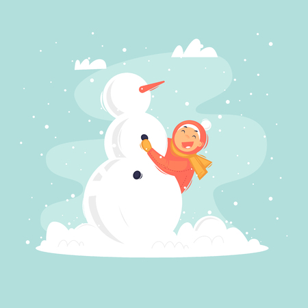 Child sculpts a snowman, winter. Flat vector illustration in cartoon style. Ilustracja
