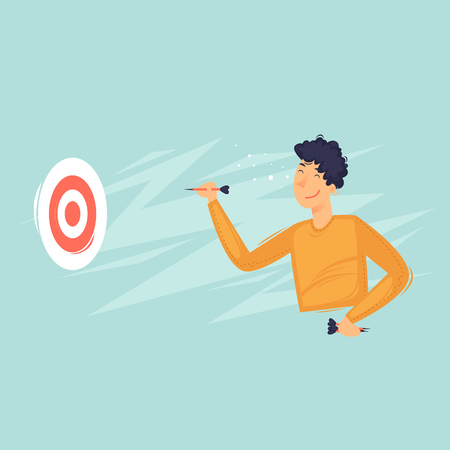 Mann spielt Darts, Sport. Flache Vektorillustration im Cartoon-Stil. Vektorgrafik