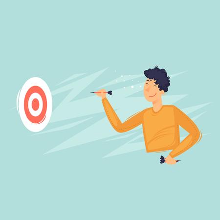 Uomo che gioca a freccette, sport. Illustrazione vettoriale piatto in stile cartone animato. Vettoriali