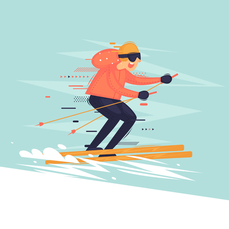 Man goes skiing, sports, extreme. Flat vector illustration in cartoon style.