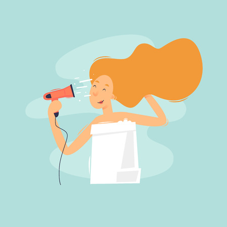 Woman dries hair, bath. Flat vector illustration in cartoon style.