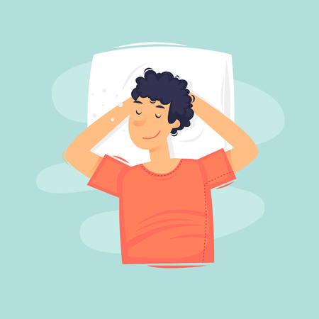 Man is sleeping. Head rests on the pillow. Flat vector illustration in cartoon style. Vetores