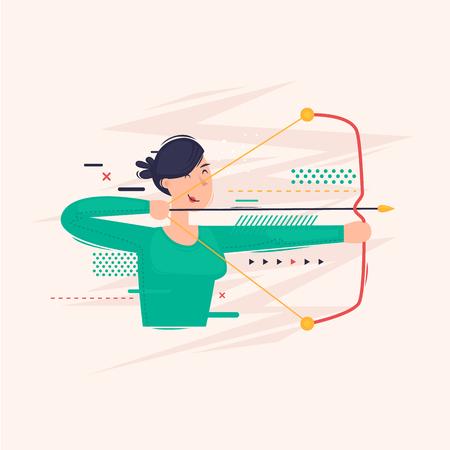 Woman shoots a bow. Flat vector illustration in cartoon style. Illusztráció