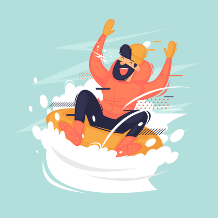 Young boy rides on the tub in the snow. Winter. Flat vector illustration in cartoon style. Illustration